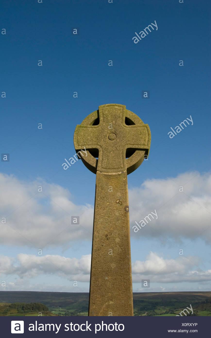 England, North Yorkshire, Egton High Moor, Ango-Saxon Cross - Stock Image
