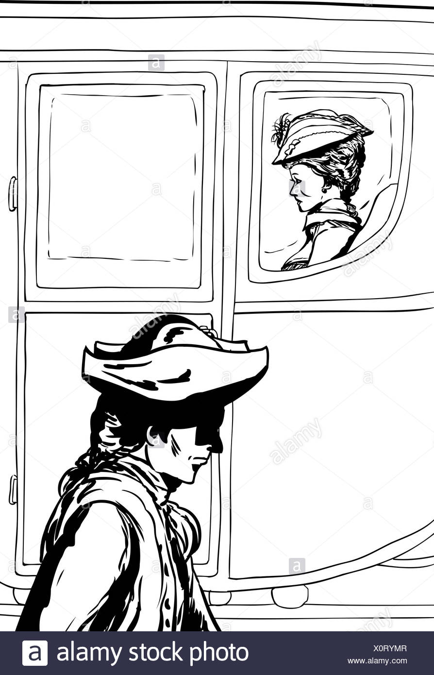 Outline of man in tricorn hat walking past rich carriage passenger - Stock Image