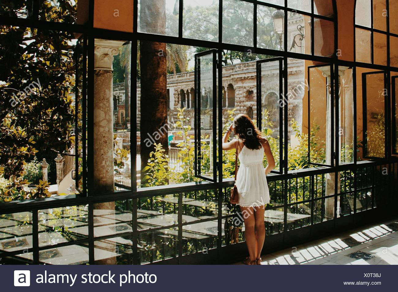 Rear View Of Young Woman Looking Through Window - Stock Image