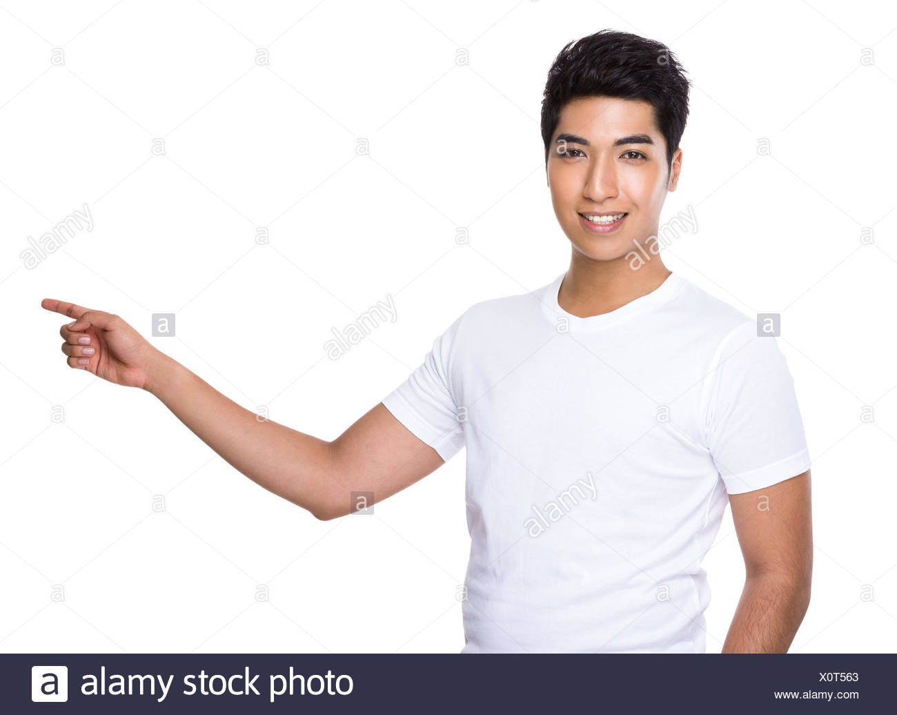 Asian Man with finger show up - Stock Image