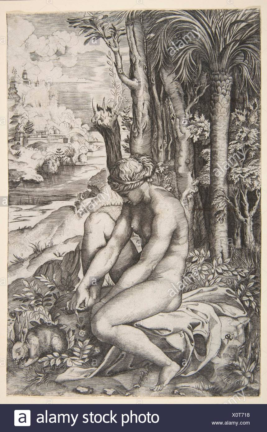 Venus removing a thorn from her left foot while seated on a cloth next to trees, a hare lower right. Artist: Marco Dente (Italian, Ravenna, active by - Stock Image