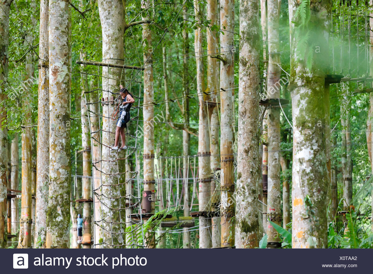 A girl ties into a zipline at a treetop Adventure Park, Bali, Indonesia - Stock Image