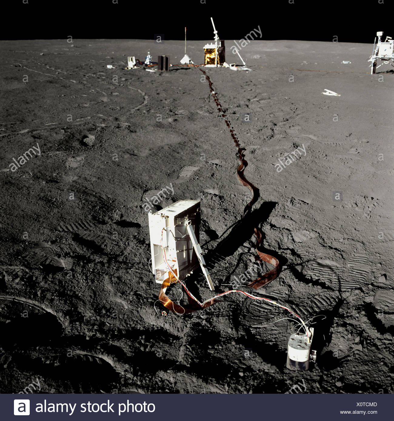 Scientific Equipment at Apollo 14 Base Camp - Stock Image