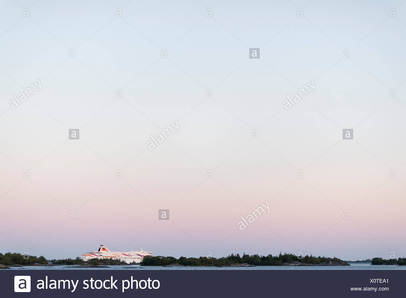 Sweden, Stockholm archipelago, Uppland, Fejan, View of sky at dawn Stock Photo