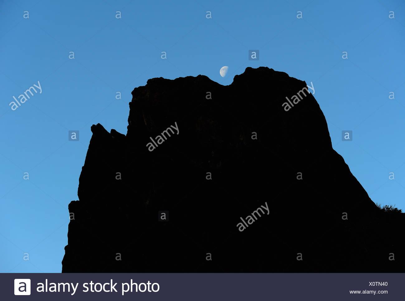 Usa Colorado Moon Over Silhouette Of Rocks In Roxborough State
