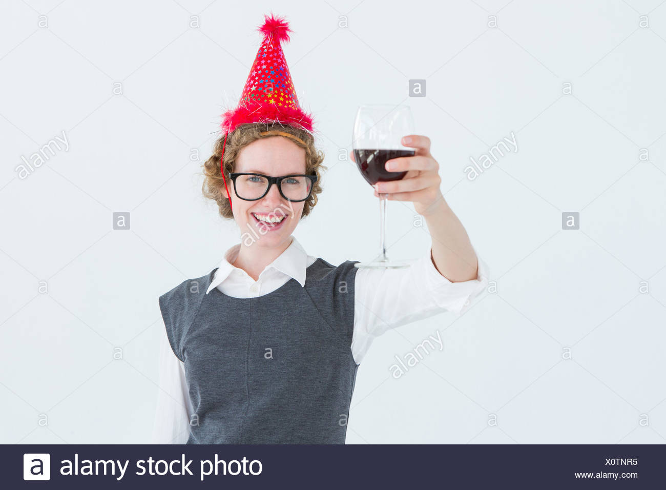 Happy geeky hipster toasting - Stock Image
