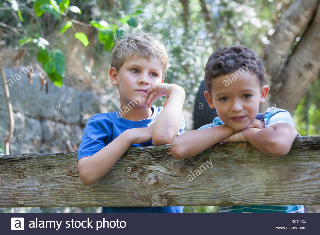 Portrait of two boys leaning on garden fence - Stock Image