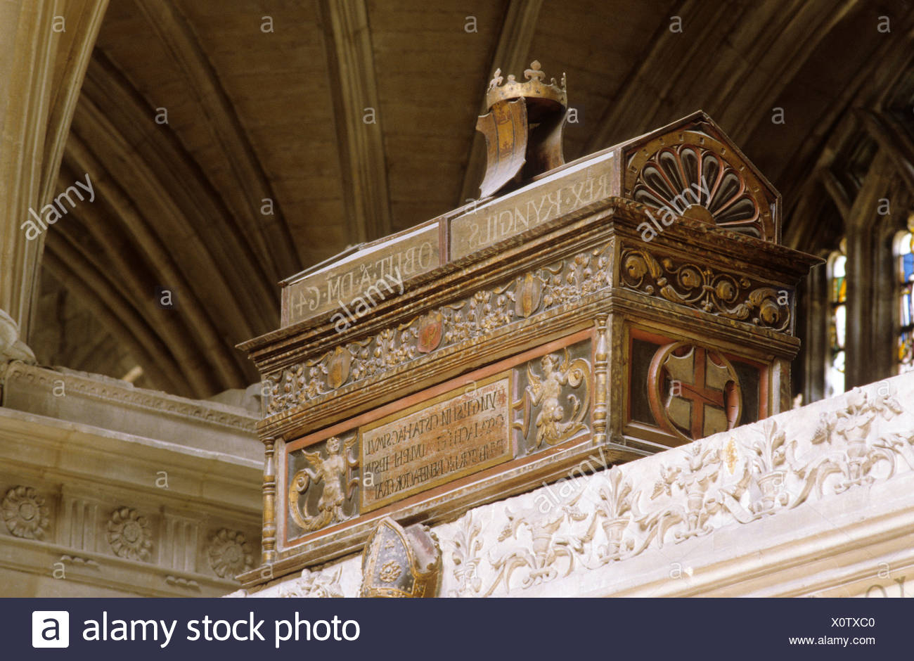Saxon Tomb AD 641 Winchester Cathedral Hampshire - Stock Image