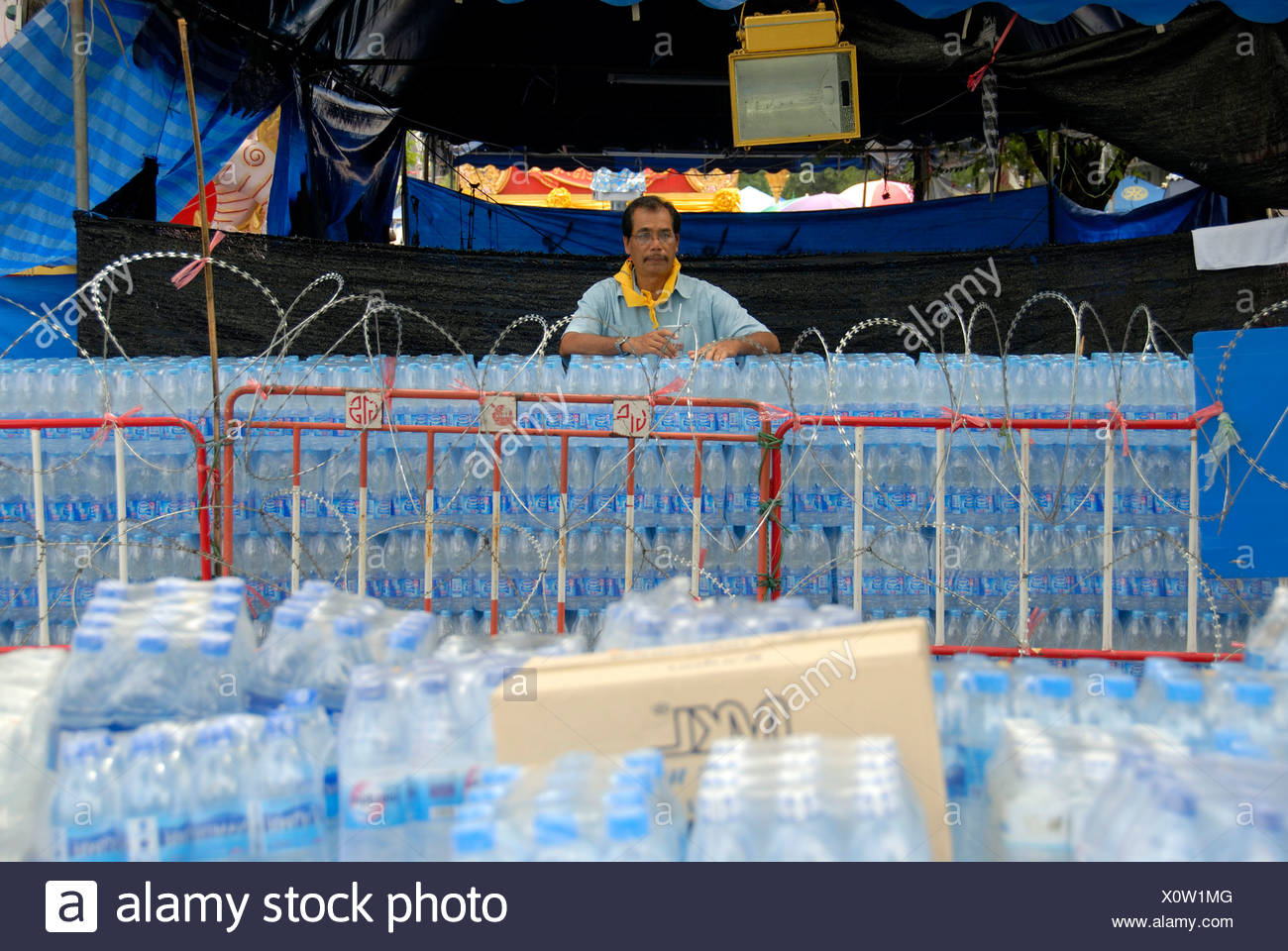Demonstration, water bottles cordon of the demonstrators, Bangkok, Thailand, Southeast Asia - Stock Image
