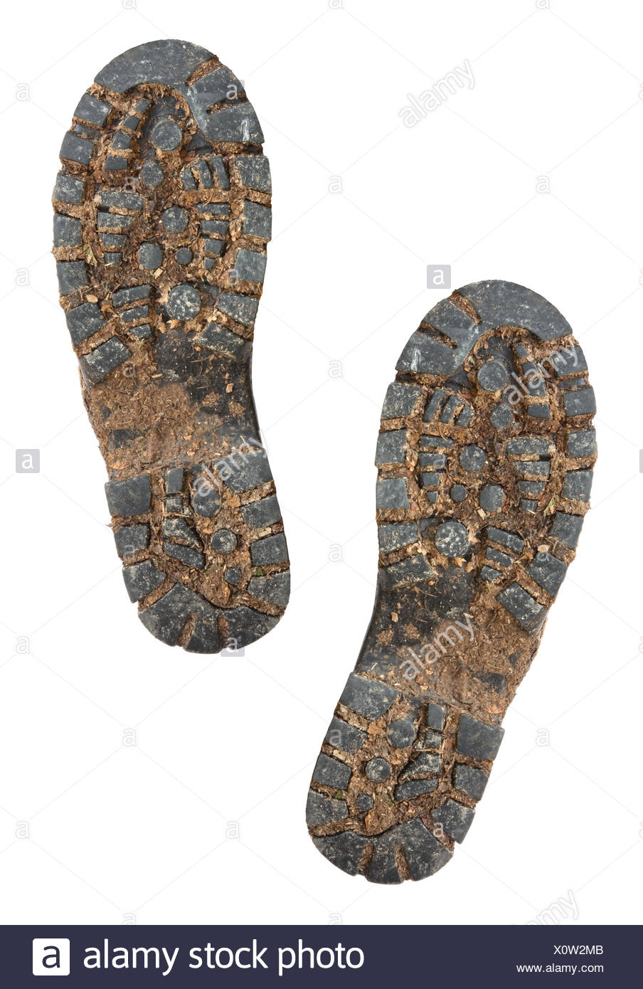 Muddy Hiking Boot Soles - Stock Image
