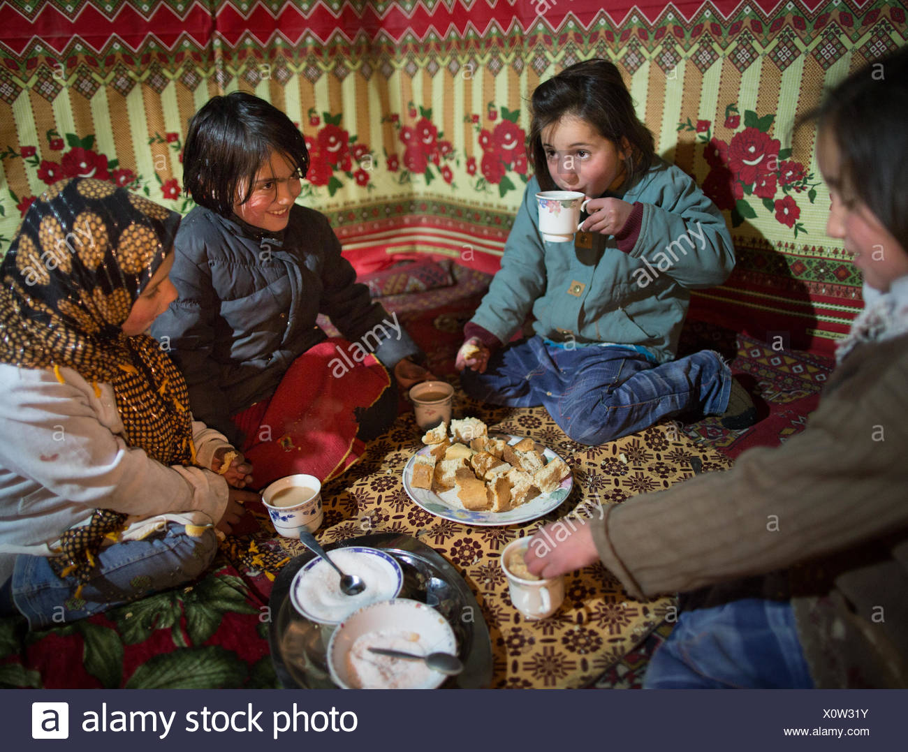 Eating together. - Stock Image