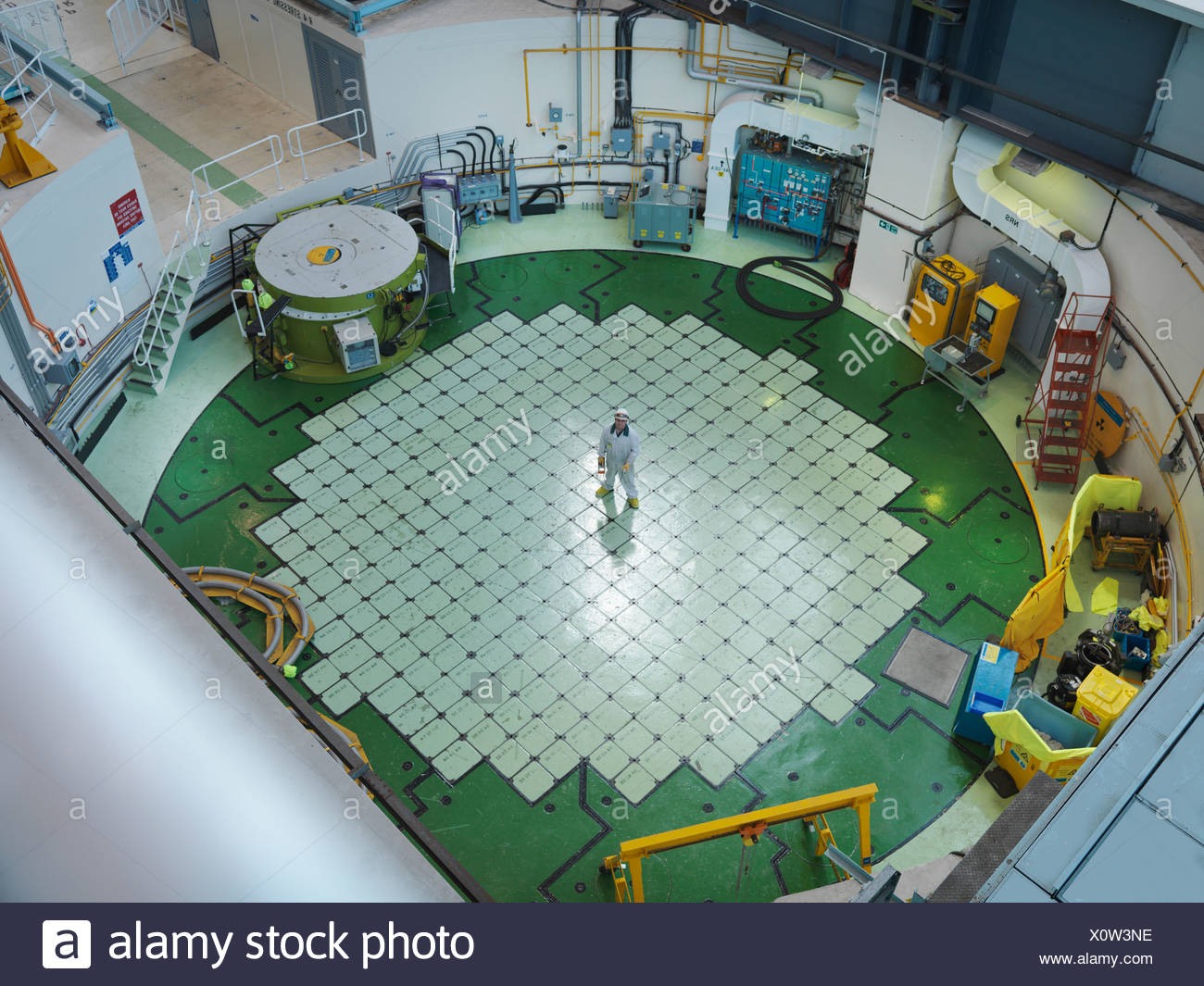 Engineer on Nuclear Reactor Pile cap - Stock Image