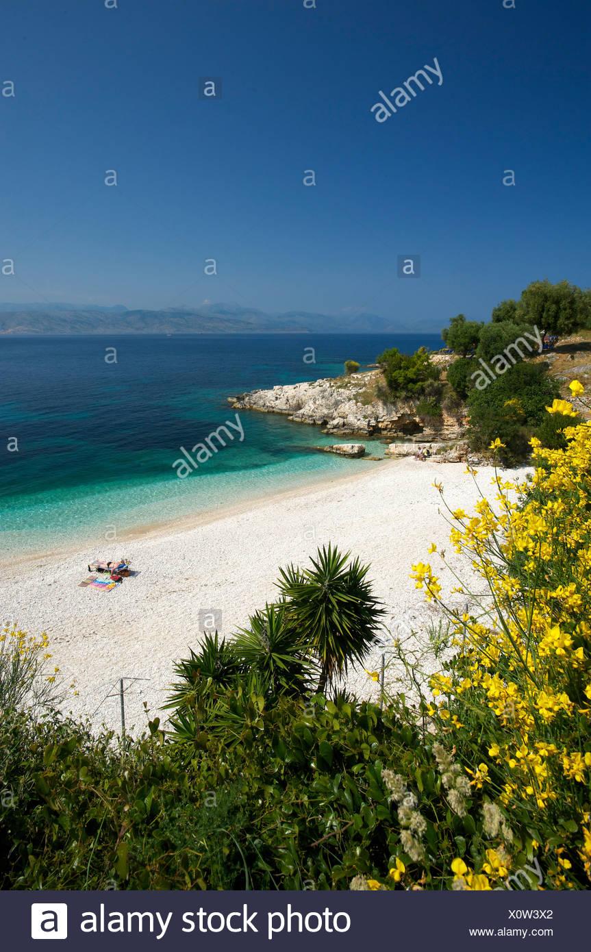 Beach of Kassiopi, Corfu, Ionian Islands, Greece, Europe - Stock Image