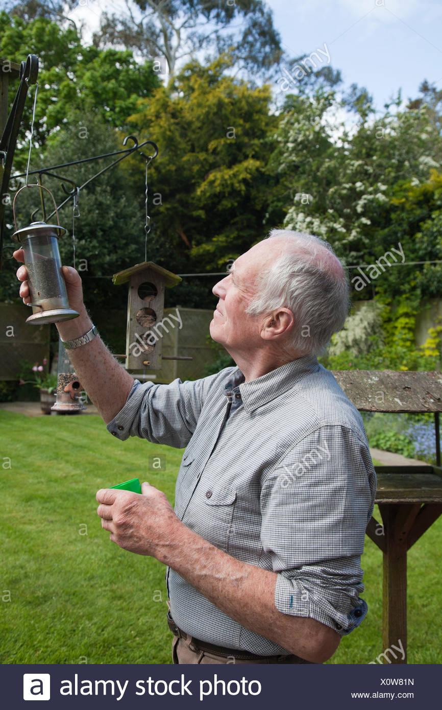 Senior man refilling bird feeder in garden - Stock Image