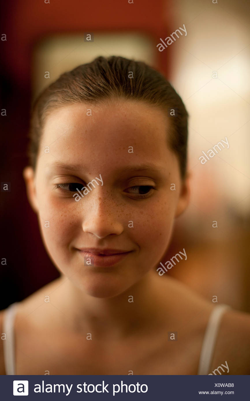 Portrait of a girl getting ready for a dance recital. - Stock Image