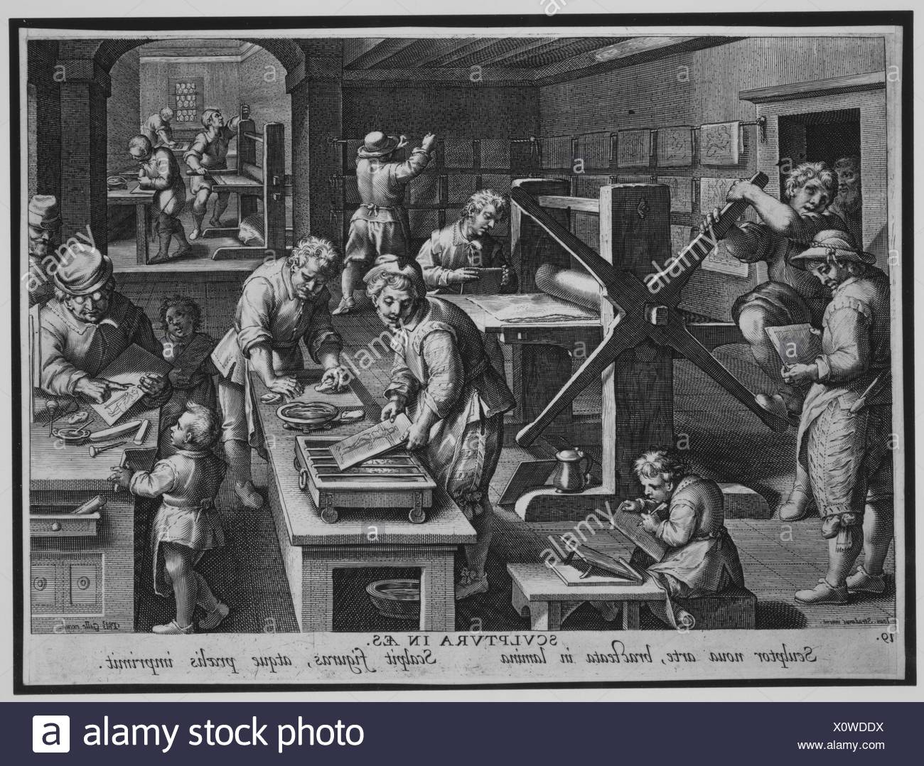 The Workshop of an Engraver [Sculptura in Aes], plate 19 from Nova Reperta. Artist: Designed by Jan van der Straet, called Stradanus (Netherlandish, - Stock Image