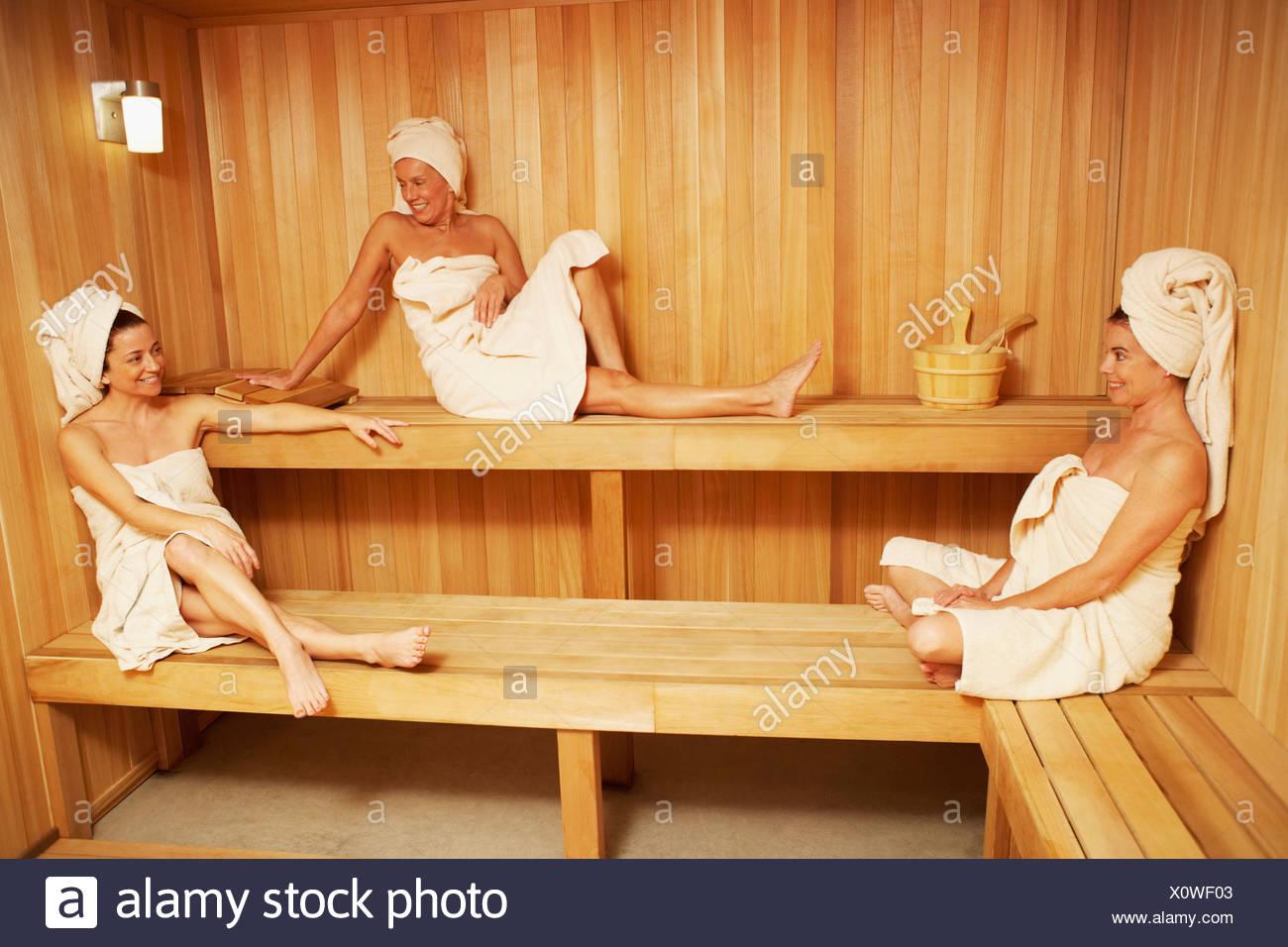 In mature sauna