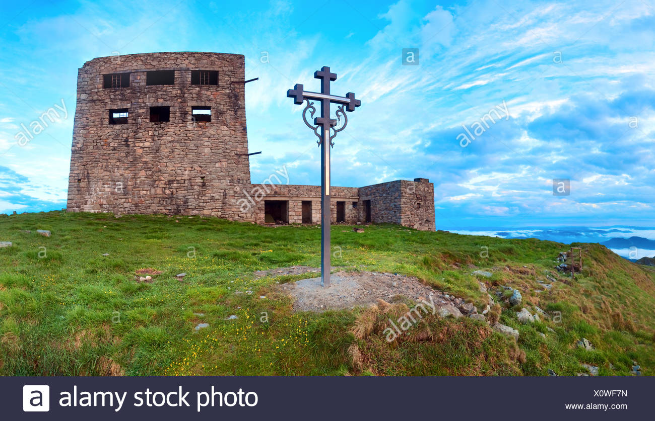 Observatory ruins on Pip Ivan mountain (Carpathian, Ukraine) Stock Photo
