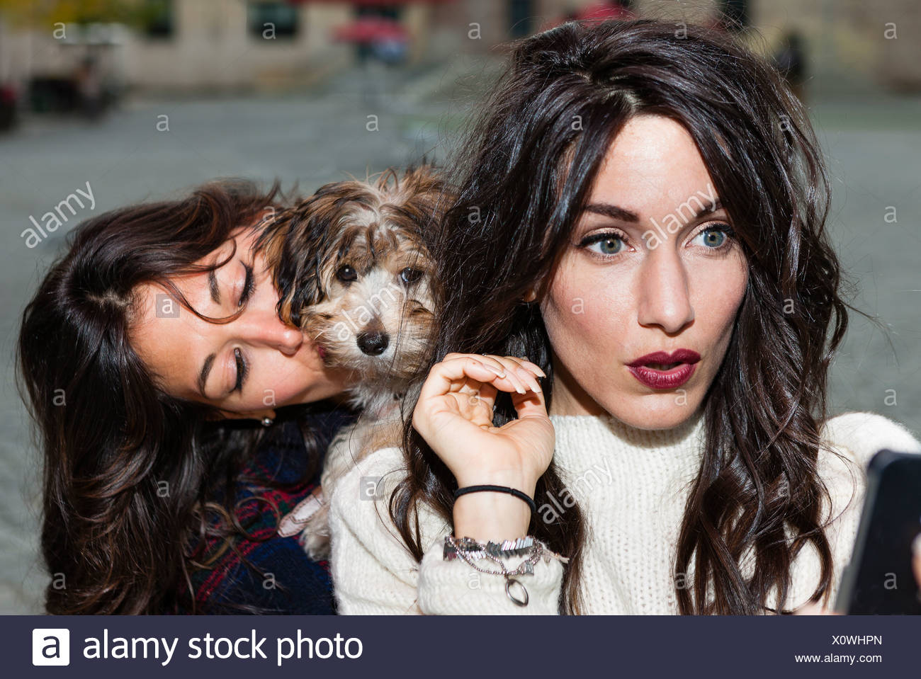 Friends holding pet dog for photograph Stock Photo