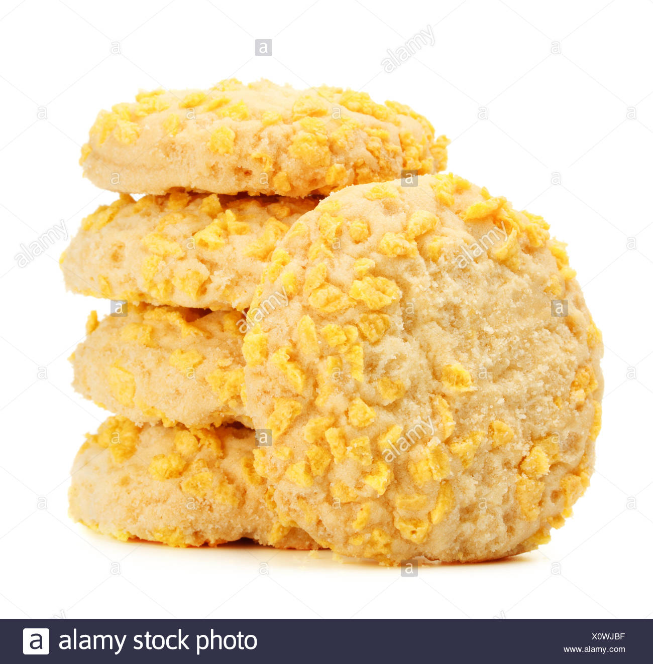 Homemade Cookies With Cornflake Chips Stock Photo