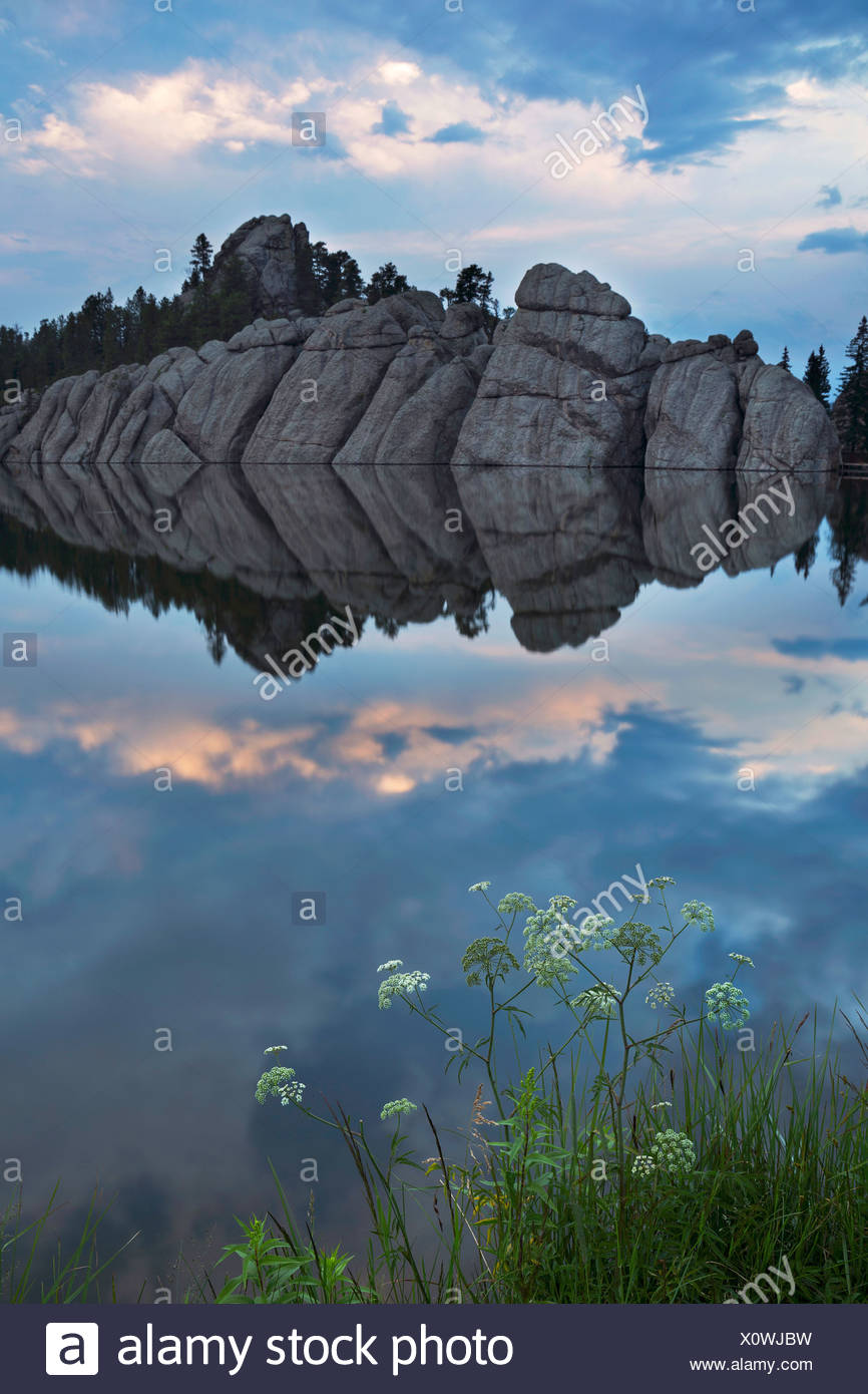 USA, United States, America, Sylvan Lake, cliffs, water, Black Hills, lake, sunset, steep, forest, morning, still, stormy, moody Stock Photo
