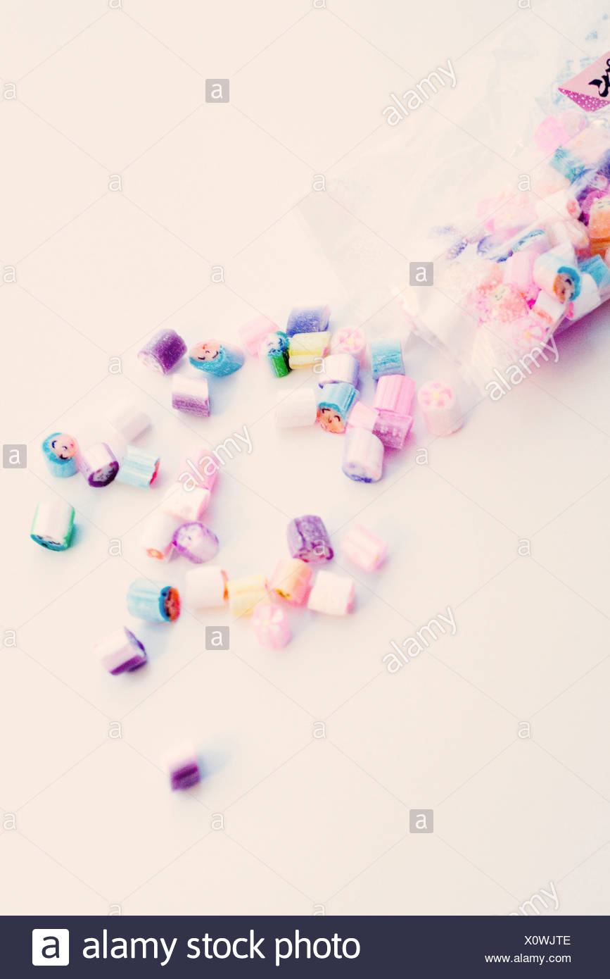 Bag of rock candies Stock Photo