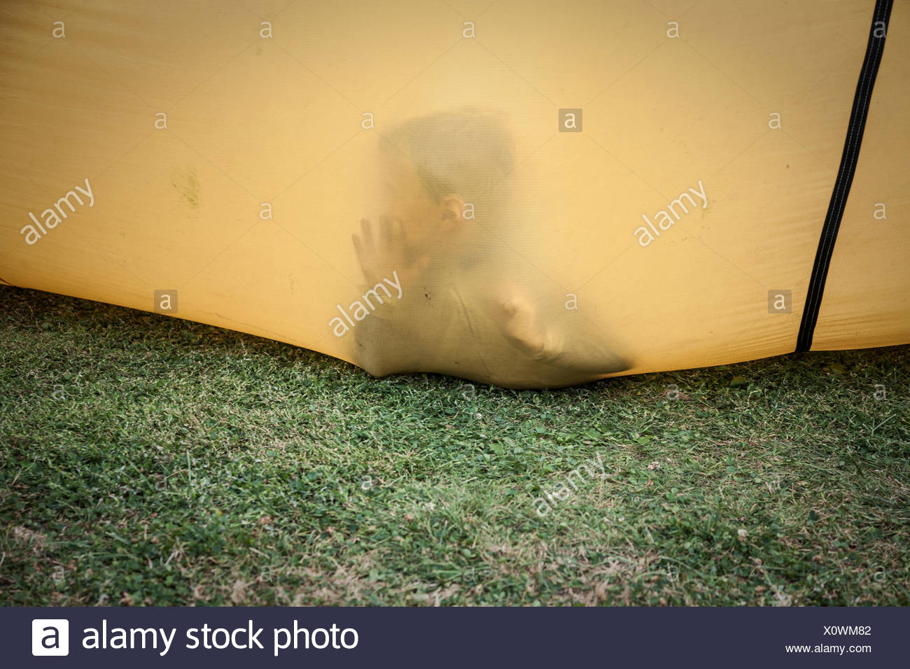 Young boy inside a hot air balloon. - Stock Image