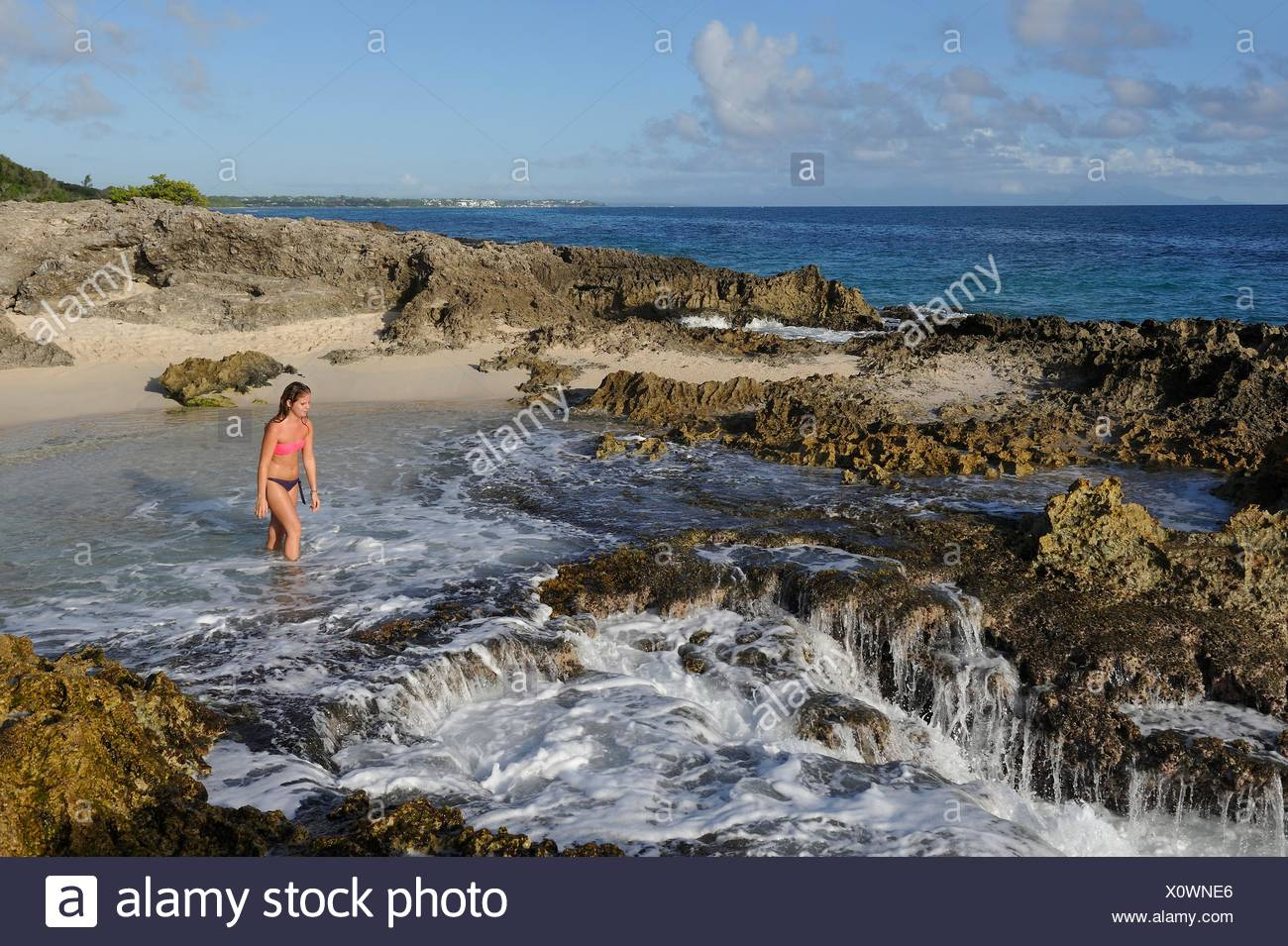 beach at Pointe des Chateaux, Grande-Terre, Guadeloupe, overseas region of France, Leewards Islands, Lesser Antilles, Caribbean. - Stock Image