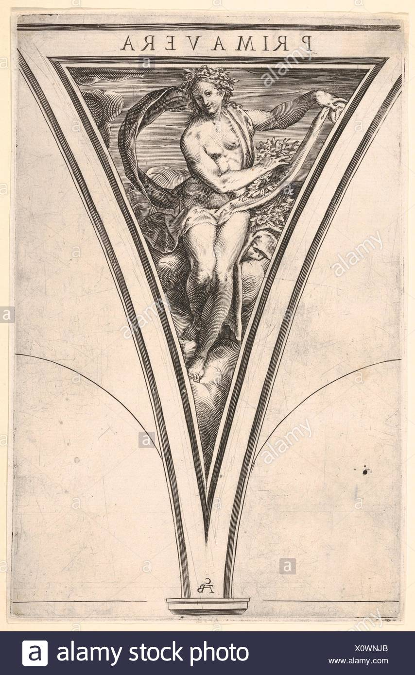 Spring (Primavera) represented as a woman bearing a billowing drape and garlands, a spandrel-shaped composition from the series 'The Four Seasons' - Stock Image