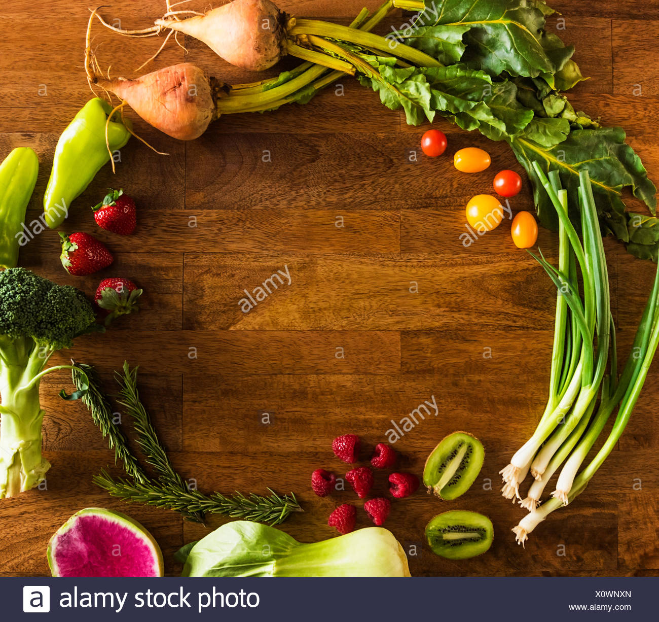 Fruit, vegetables and herbs - Stock Image