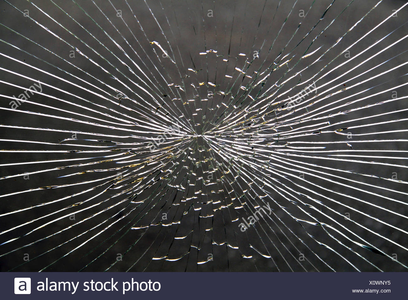 glass breakage caused by vandalism - Stock Image