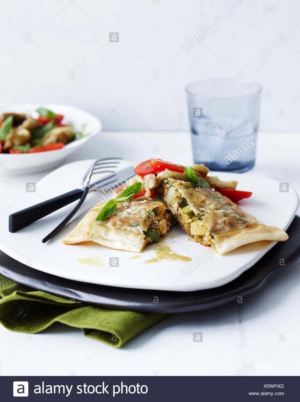 Plate with garnished tuna and egg briks and side dish - Stock Image
