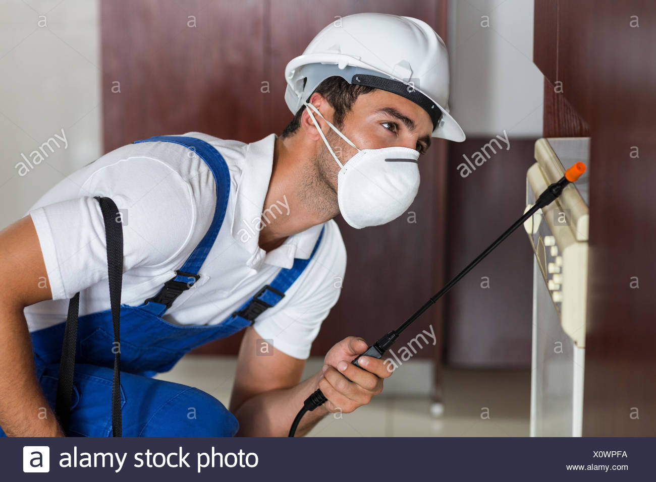 Pest worker using sprayer on cabinets in kitchen Stock Photo