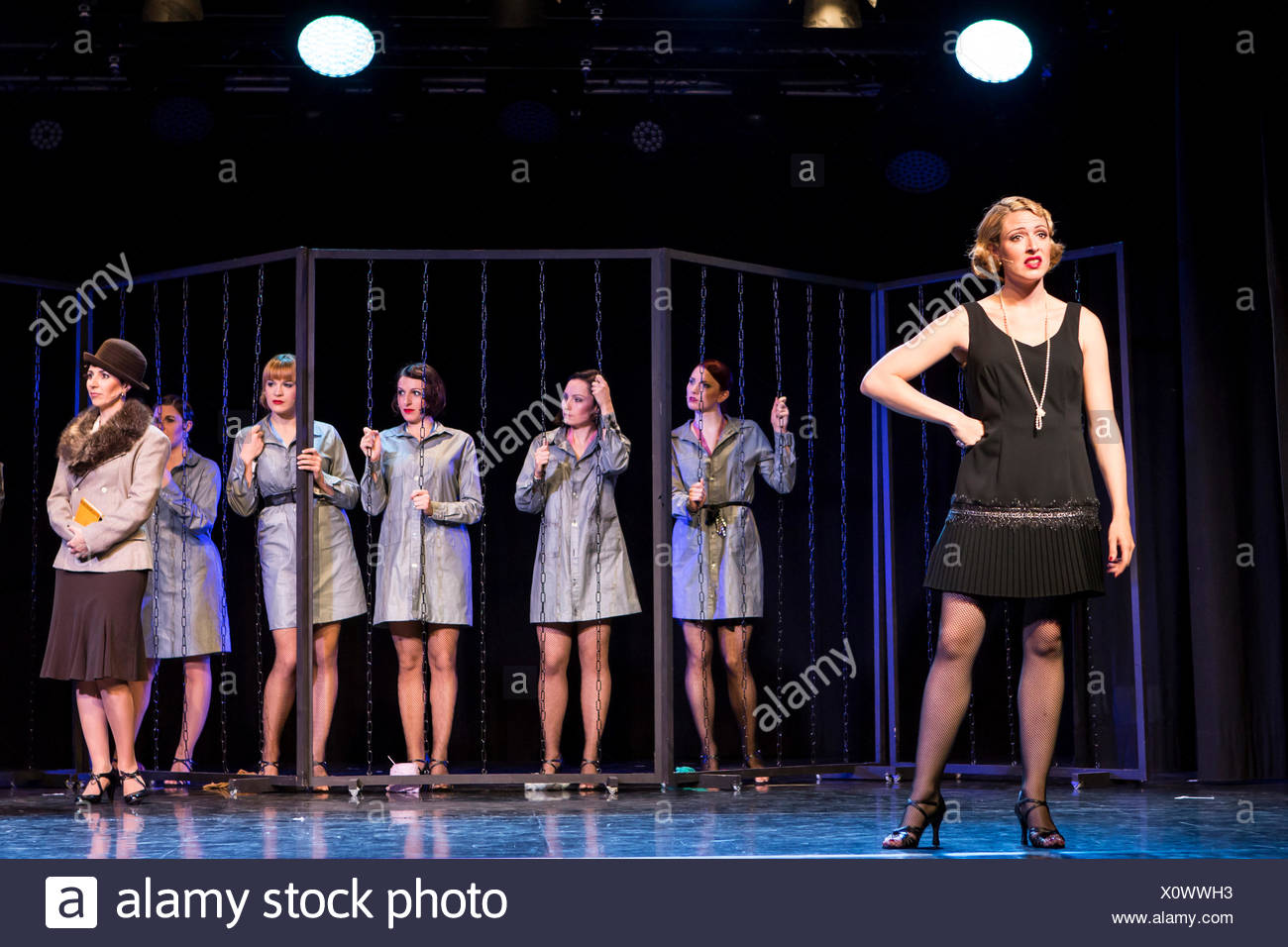 Musical 'Chicago', with Natascha-Cecillia Hill as Velma Kelly, live performance, Le Théâtre in Kriens, Lucerne, Switzerland - Stock Image