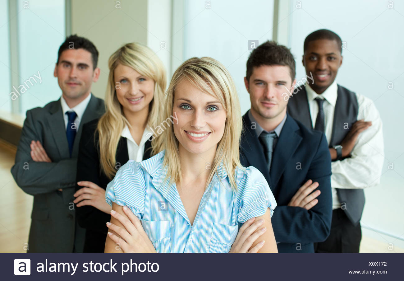 Business people headed by a woman - Stock Image