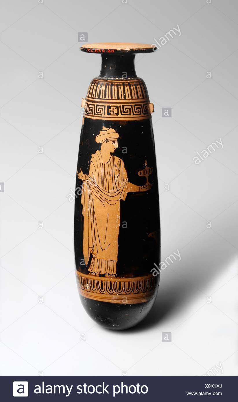 Terracotta alabastron (perfume vase). Attributed to the Persephone Painter; Period: Classical; Date: ca. 440 B.C; Culture: Greek, Attic; Medium: - Stock Image