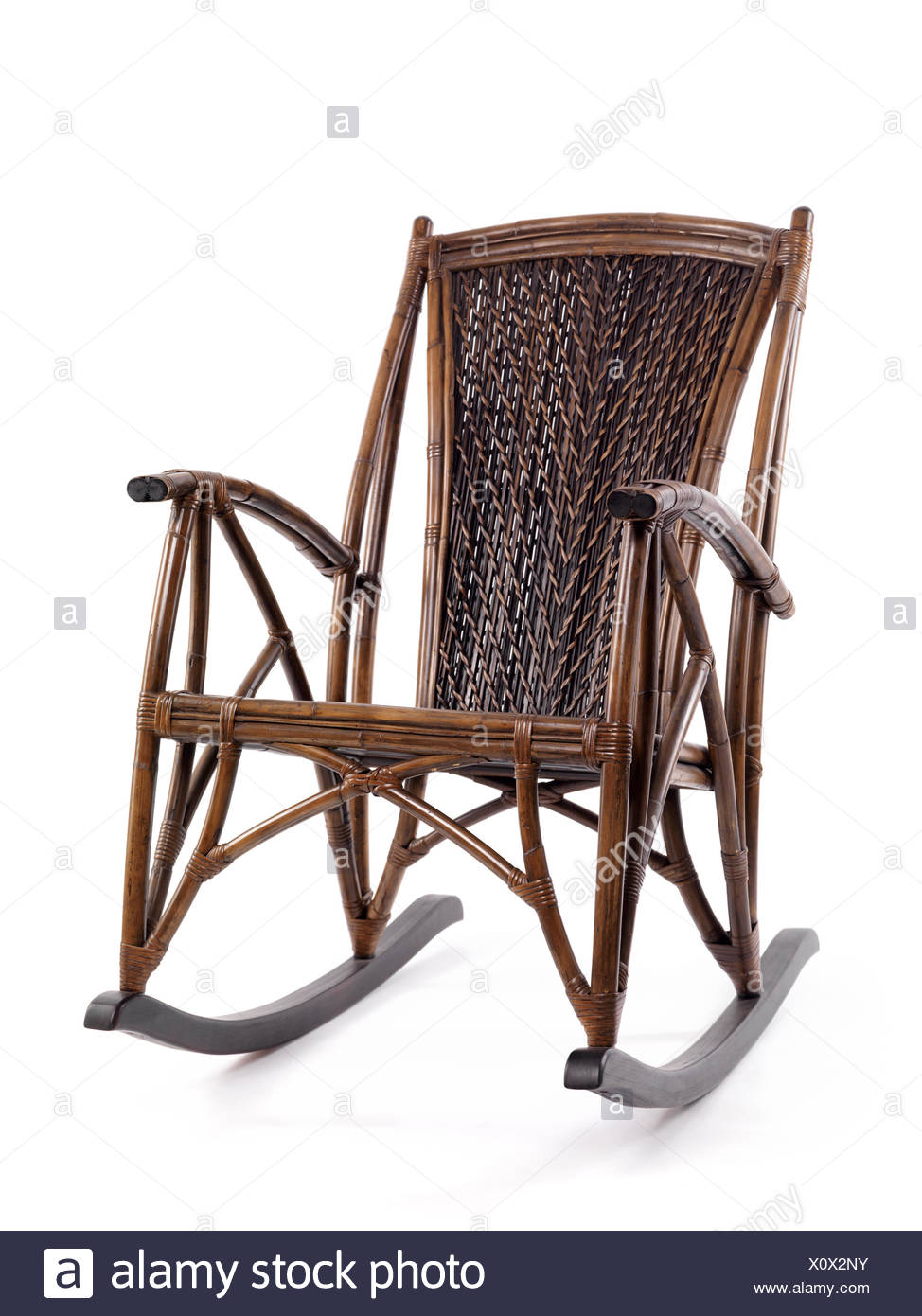 Antique Bamboo Wicker Rocking Chair   Stock Image