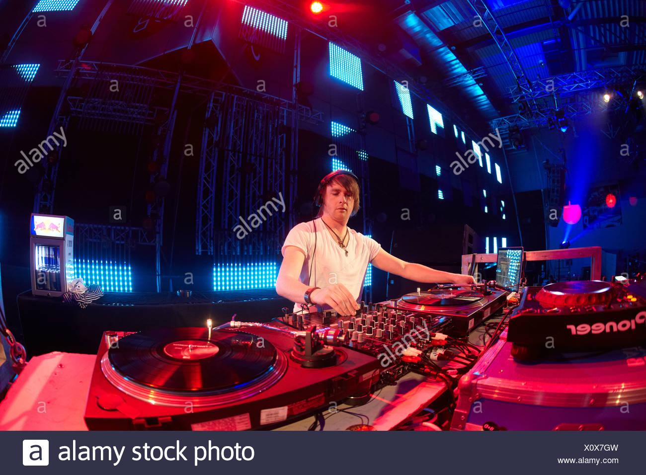 Mayday 2011 techno festival, Westfalenhalle, DJ Gary Beck, Dortmund, North Rhine-Westphalia, Germany, Europe - Stock Image