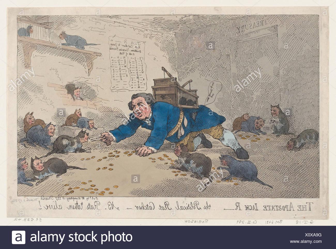 The Apostate Jack Robinson, The Political Rat Catcher-N.B. Rats Taken Alive!. Artist: Thomas Rowlandson (British, London 1757-1827 London); - Stock Image