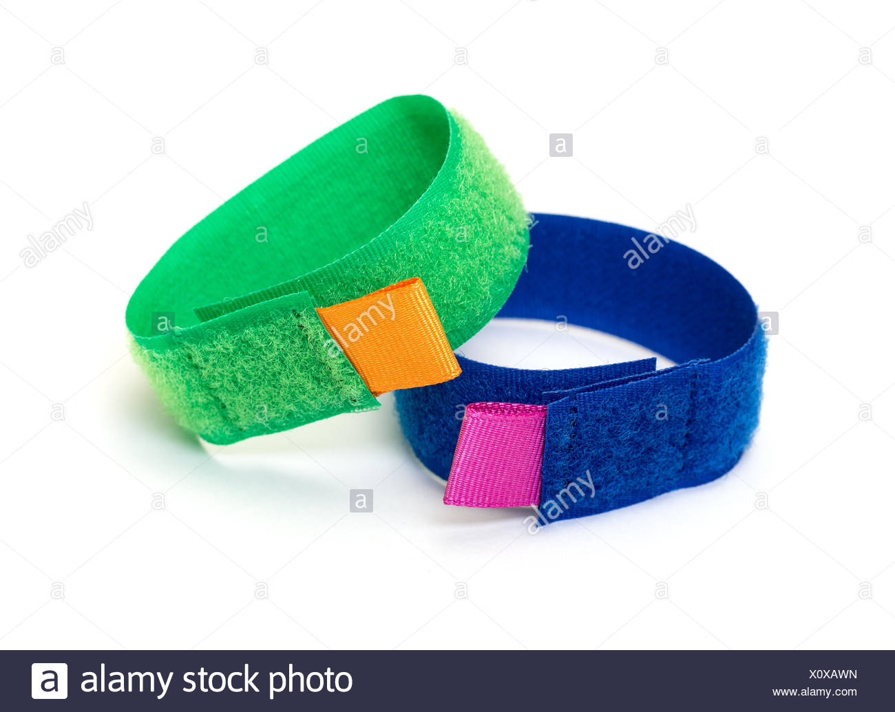 Rings from Colorful Velcro Strips - Stock Image
