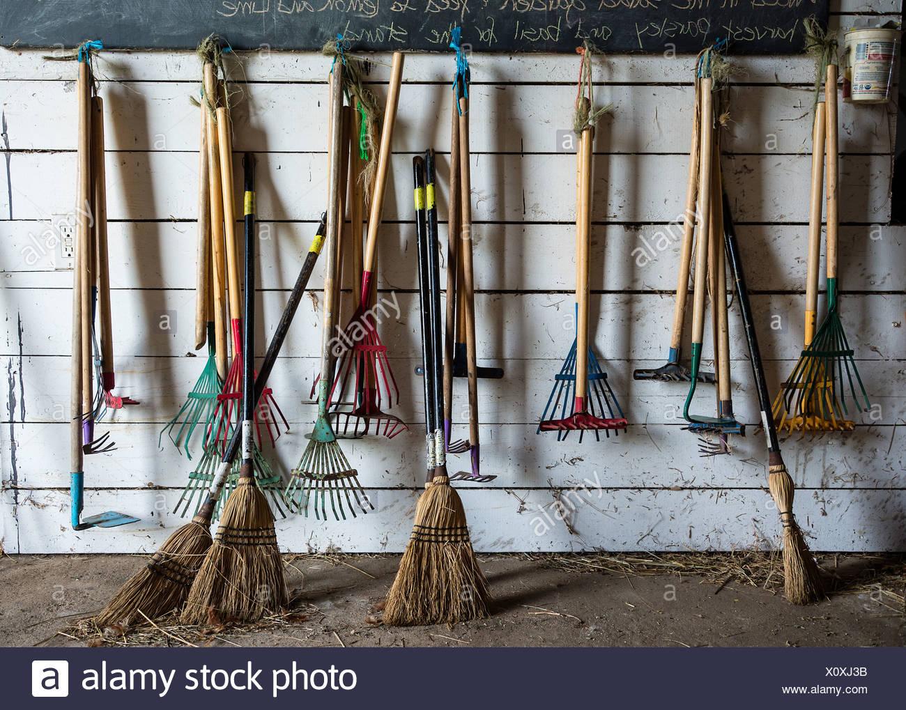 Child sized farm tools. - Stock Image