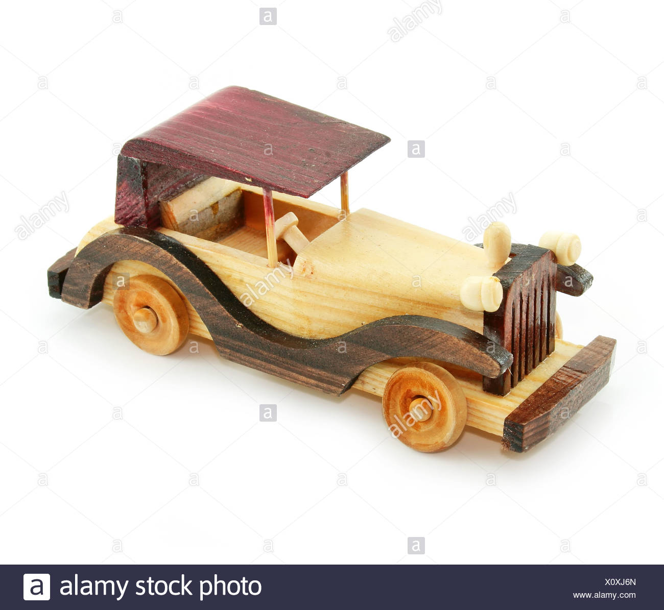 Retro car wooden model isolated - Stock Image