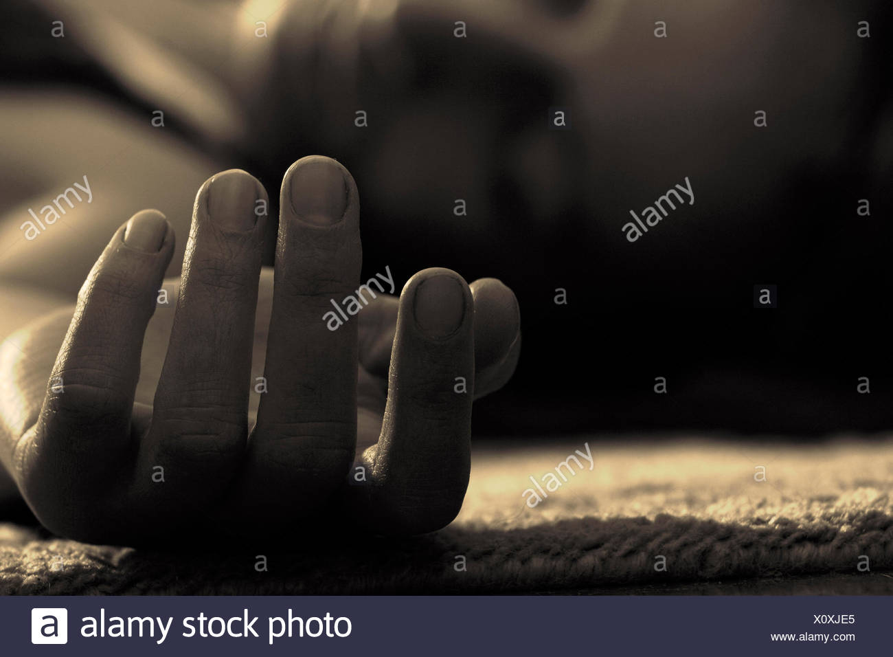 death,accident,lifeless,unconscious - Stock Image
