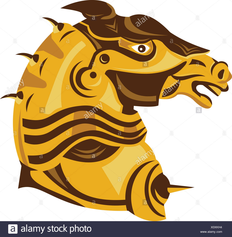 Knight War Horse Side Armor Retro Stock Photo Alamy