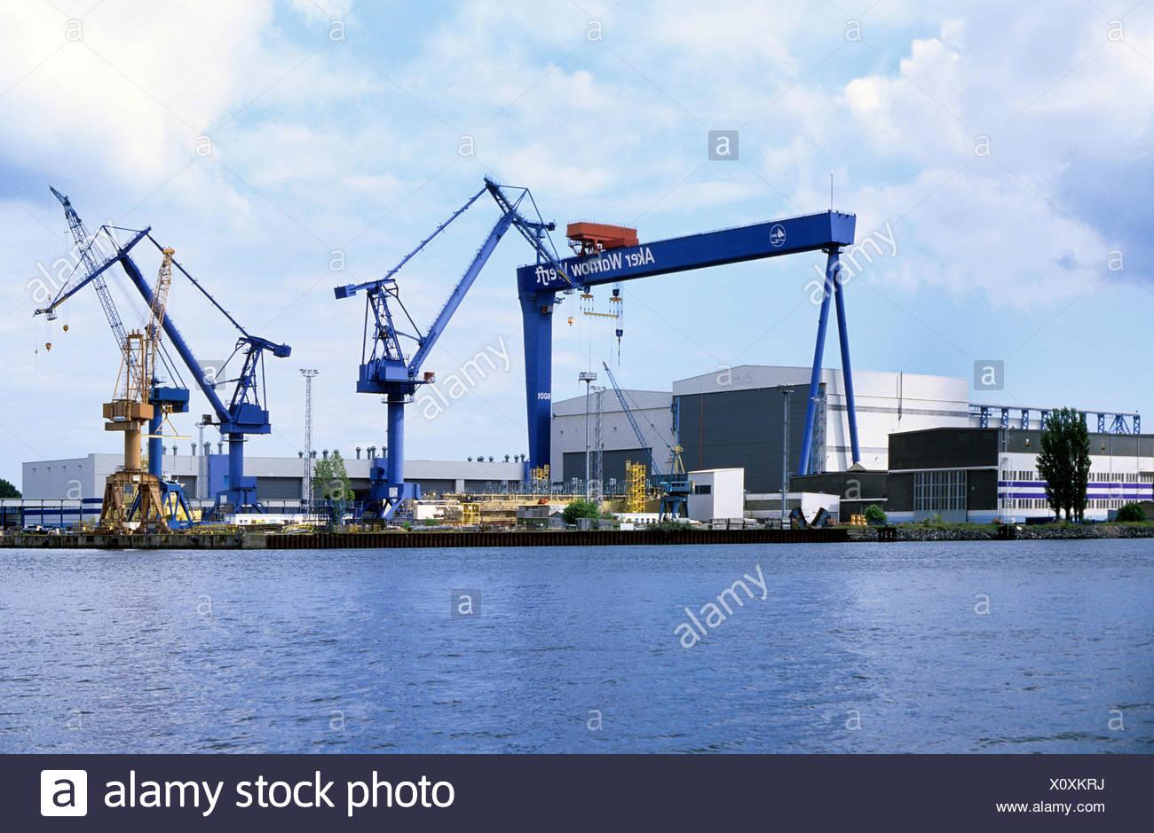 Shipyard, Aker Warnow shipyard, Mecklenburg-Western Pomerania, Germany Europe - Stock Image