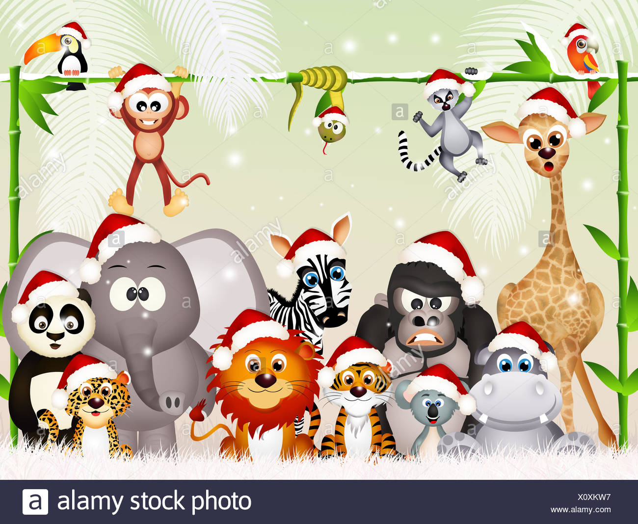 Funny Animals Christmas Stock Photos Funny Animals Christmas Stock
