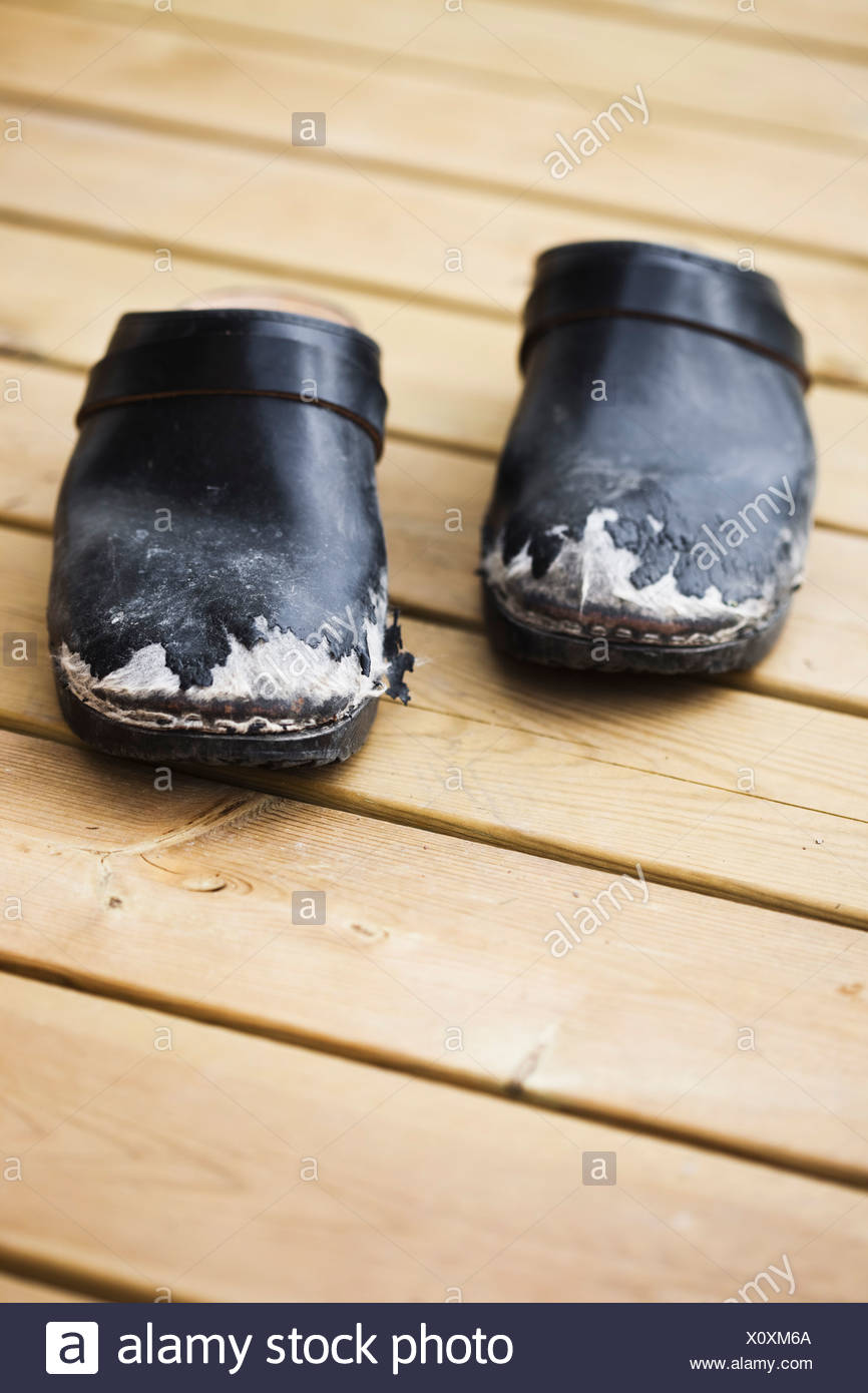 Old wooden shoes - Stock Image