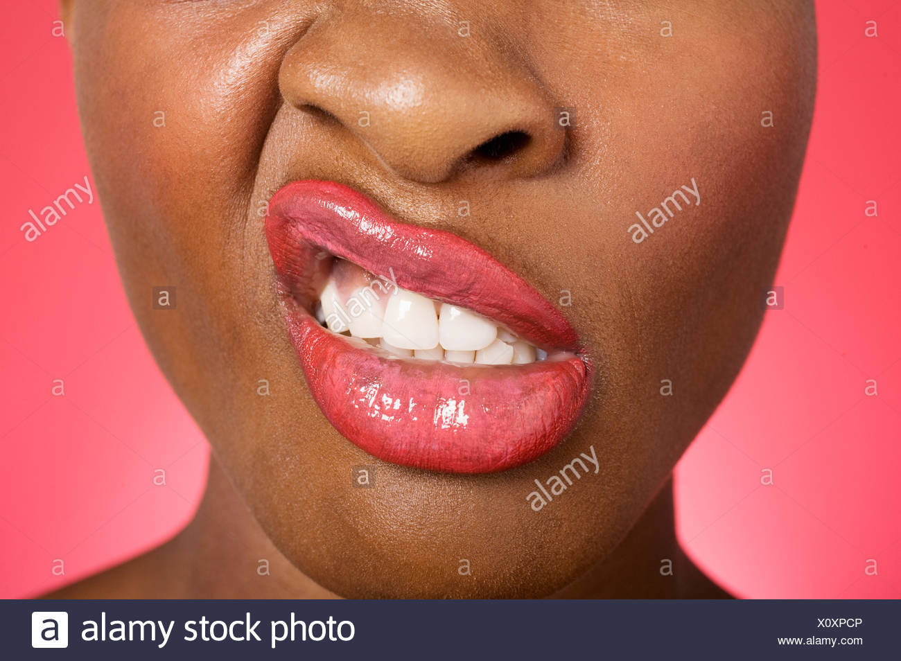 Close up of woman making a face - Stock Image