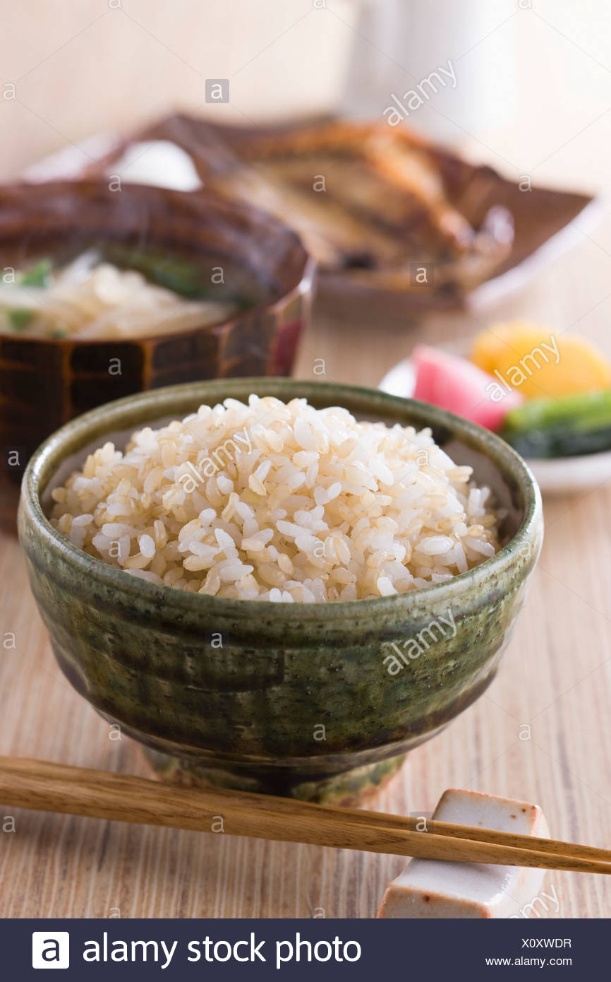 Steamed Brown Rice With Side Dishes Stock Photo Alamy