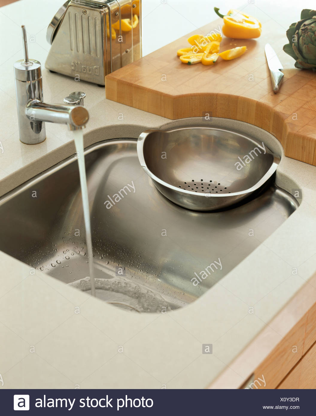 Close Up Of Philippe Starck Stainless Steel Sink And Drainer ...